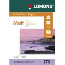 Фотобумага Lomond матовая для струйной печати, двухсторонняя, A4, 170 г/м2, 100 листов